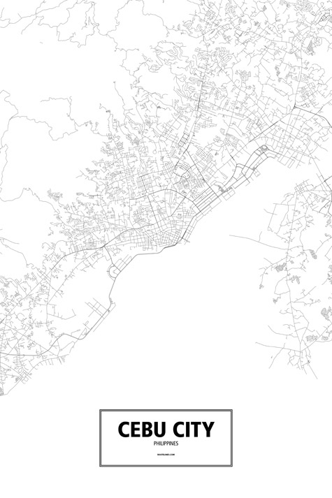Philippines Map Black And White.Cebu City Philippines Poster Routelines Detailed Posters And