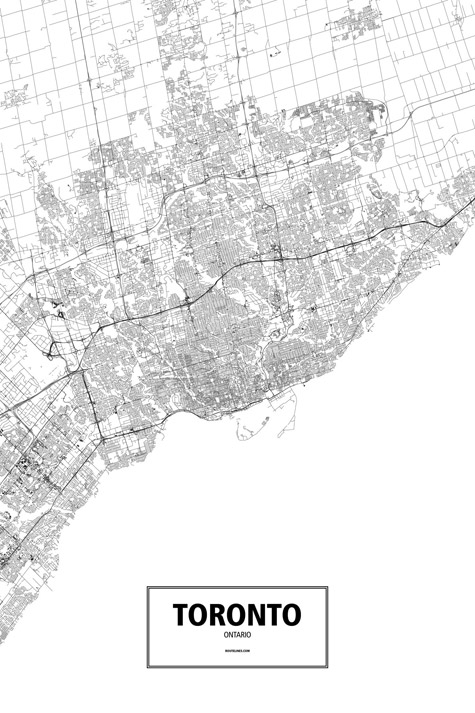 Toronto ontario canada poster routelines detailed posters and prints of cities and their roads